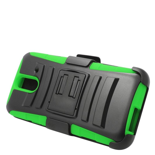 Insten Hybrid Stand PC/Silicone Holster Case For HTC One E8, Black/Green