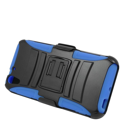 Insten Hybrid Stand PC/Silicone Holster Case For HTC Desire Eye, Black/Blue