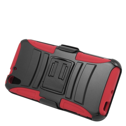 Insten Hybrid Stand PC/Silicone Holster Case For HTC Desire Eye, Black/Red