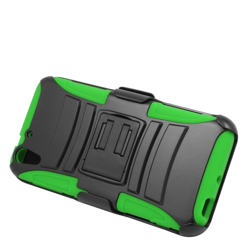 Insten Hybrid Stand PC/Silicone Holster Case For HTC Desire Eye, Black/Green