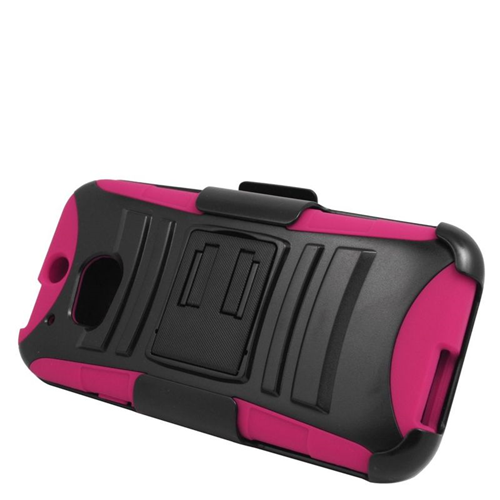 Insten Hybrid Stand PC/Silicone Holster Case For HTC One M8, Black/Hot Pink