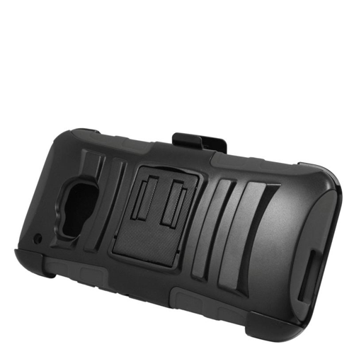 Insten Dual Layer Hybrid Stand PC/Silicone Holster Case Cover Compatible With HTC One M9, Black