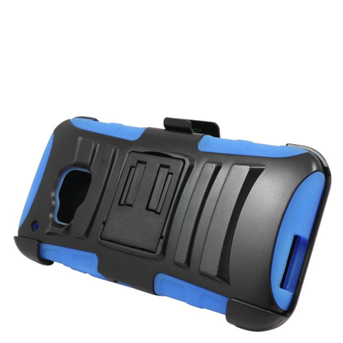 Insten Dual Layer Hybrid Stand PC/Silicone Holster Case Cover Compatible With HTC One M9, Black/Blue