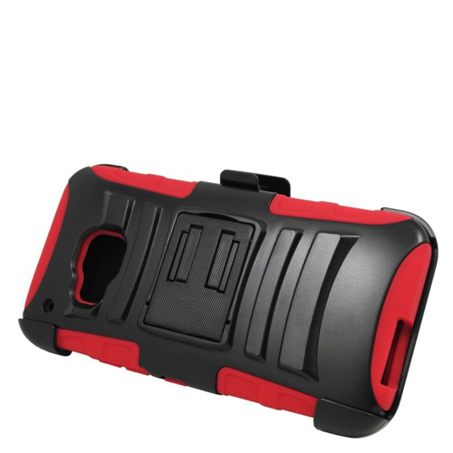 Insten Dual Layer Hybrid Stand PC/Silicone Holster Case Cover Compatible With HTC One M9, Black/Red