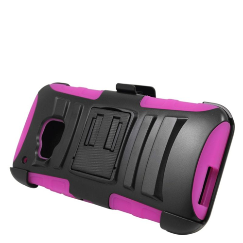 Insten Hybrid Stand PC/Silicone Holster Case For HTC One M9, Black/Hot Pink