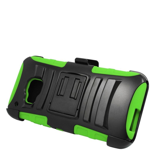 Insten Hybrid Stand PC/Silicone Holster Case For HTC One M9, Black/Green