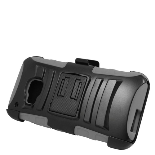 Insten Dual Layer Hybrid Stand PC/Silicone Holster Case Cover Compatible With HTC One M9, Black/Gray