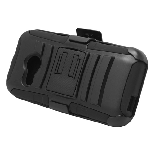 Insten Dual Layer Hybrid Stand PC/Silicone Holster Case Cover Compatible With HTC One M8 Mini, Black