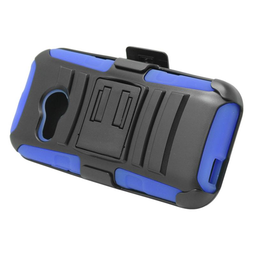Insten Hybrid Stand PC/Silicone Holster Case For HTC One M8 Mini, Black/Blue
