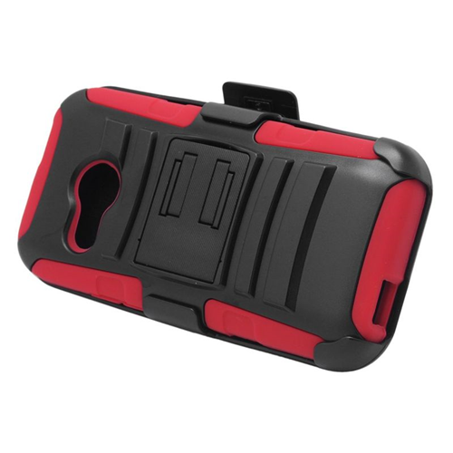 Insten Hybrid Stand PC/Silicone Holster Case For HTC One M8 Mini, Black/Red