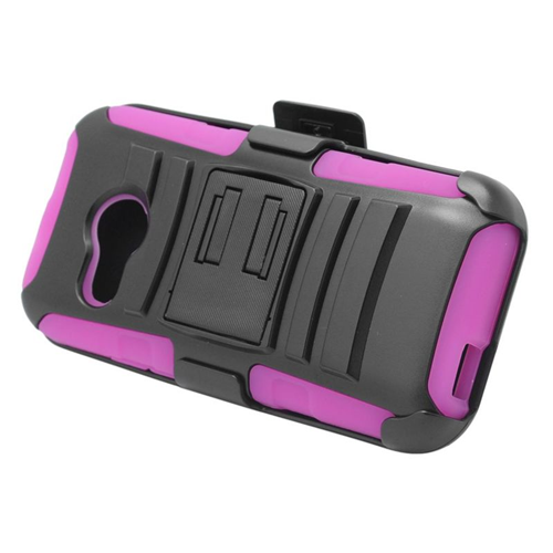 Insten Hybrid Stand PC/Silicone Holster Case For HTC One M8 Mini, Black/Hot Pink