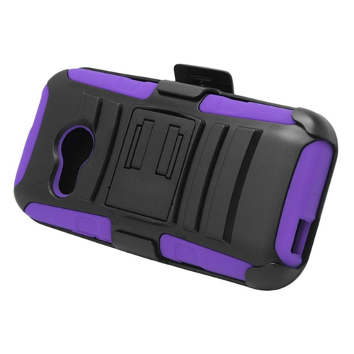Insten Hybrid Stand PC/Silicone Holster Case For HTC One M8 Mini, Black/Purple