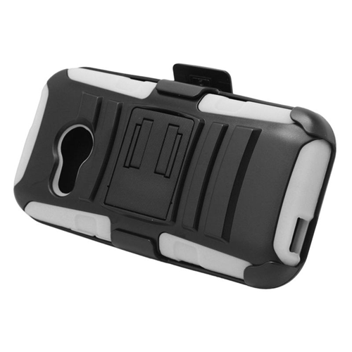 Insten Hybrid Stand PC/Silicone Holster Case For HTC One M8 Mini, Black/White