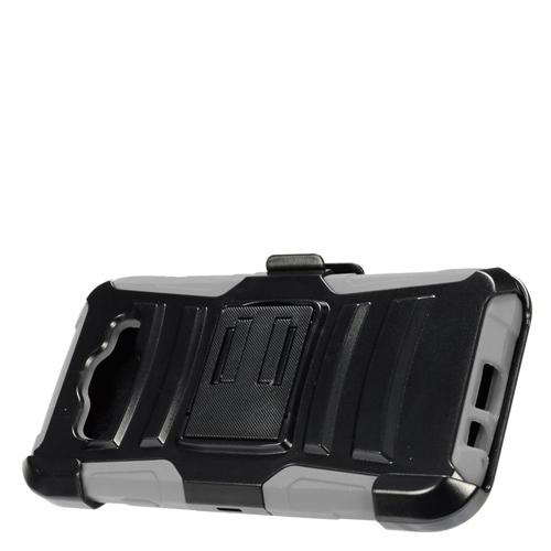Insten Hard Hybrid Plastic Silicone Case w/Holster For Samsung Galaxy E5, Black/Gray