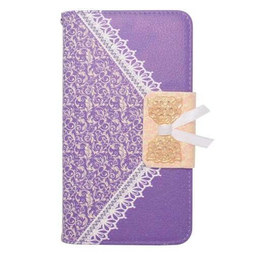 Insten Book-Style Leather Fabric Case w/stand/card slot For Samsung Galaxy Note 4, Purple/Gold