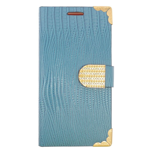 Insten Folio Leather Fabric Case w/card slot/Diamond For Samsung Galaxy Note 5, Light Blue/Gold