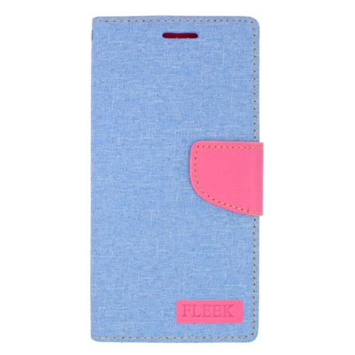 Insten Flip Leather Case w/stand/card holder For Samsung Galaxy Note 5, Light Blue/Pink
