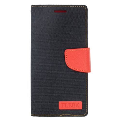Insten Folio Leather Case w/stand/card holder/Photo Display For Samsung Galaxy Note 5, Black/Red