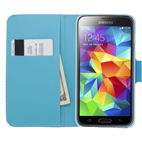Insten Flip Leather Bling Case w/card slot For Samsung Galaxy S5, Blue