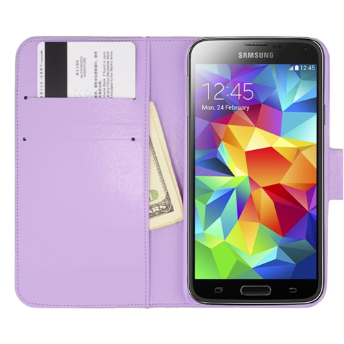 Insten Flip Leather Rhinestone Cover Case w/card slot For Samsung Galaxy S5, Purple