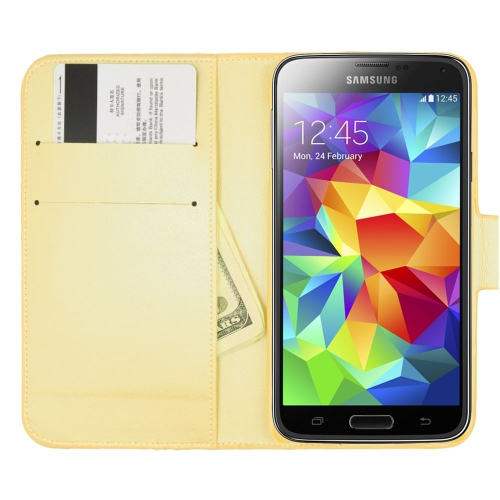 Insten Book-Style Leather Bling Case w/card holder For Samsung Galaxy S5, Gold