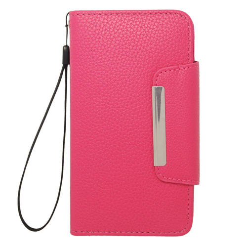 Insten Folio Leather Fabric Case Lanyard w/card slot For Samsung Galaxy S5, Hot Pink
