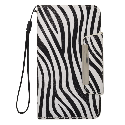 Insten Zebra Folio Leather Fabric Cover Case Lanyard w/card slot For Samsung Galaxy S5, Black/White