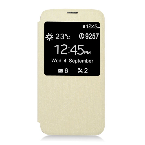 Insten Book-Style Leather Fabric Case For Samsung Galaxy S5, White
