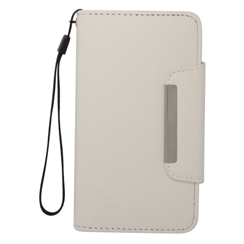 Insten Book-Style Leather Fabric Cover Case Lanyard w/card slot For Samsung Galaxy S5, White
