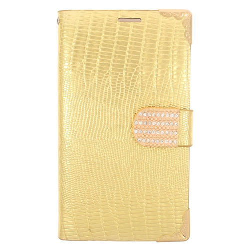 Insten Flip Leather Fabric Case w/card holder/Diamond For Samsung Galaxy S6, Gold