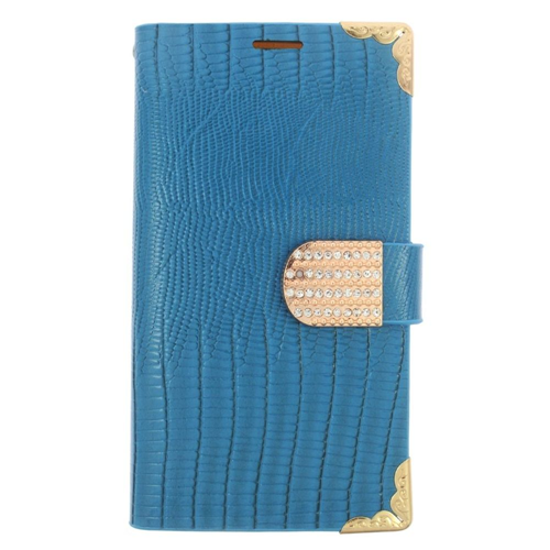 Insten Book-Style Leather Fabric Case w/card slot/Diamond For Samsung Galaxy S6, Light Blue/Gold