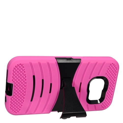 Insten Wave Symbiosis Rubber Hybrid Hard Case w/stand For Samsung Galaxy S7, Hot Pink/Black