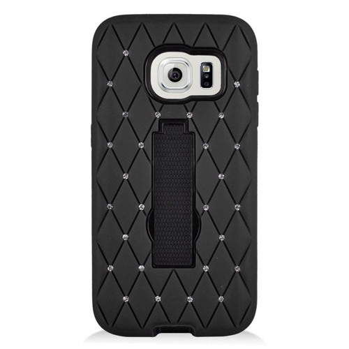 Insten Symbiosis Hard Hybrid Rubberized Silicone Case w/stand/Diamond For Samsung Galaxy S7, Black