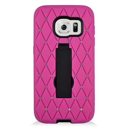 Insten Fitted Hard Shell Case for Samsung Galaxy S7 - Hot Pink;Black