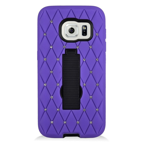 Insten Hard Hybrid Rubber Coated Silicone Case w/stand/Diamond For Samsung Galaxy S7, Purple/Black