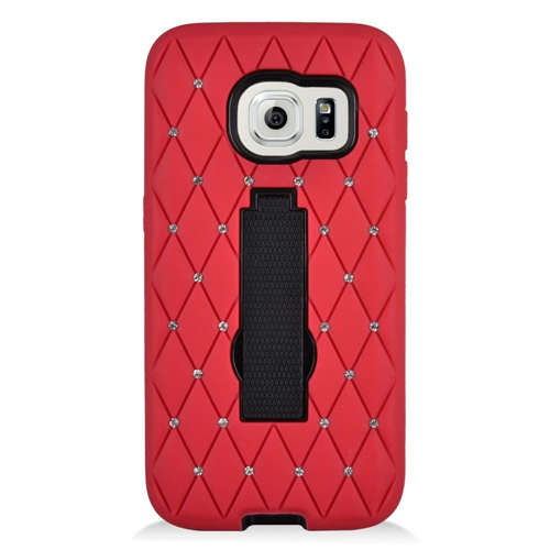 Insten Symbiosis HardRubber Coated Silicone Case w/stand/Diamond For Samsung Galaxy S7, Red/Black