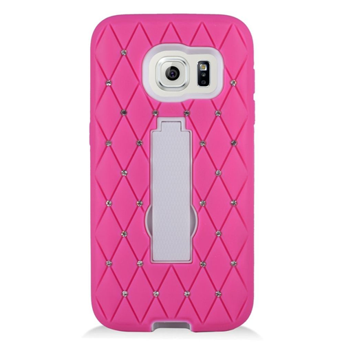 Insten Symbiosis HardRubberized Silicone Case w/stand/Diamond For Samsung Galaxy S7, Hot Pink/White
