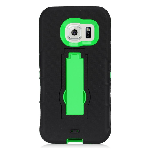 Insten Symbiosis Hard Hybrid Rubberized Silicone Case w/stand For Samsung Galaxy S7, Black/Green