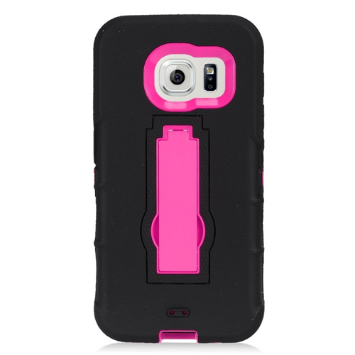 Insten Symbiosis Hard Dual Layer Rubber Silicone Case w/stand For Samsung Galaxy S7, Black/Hot Pink