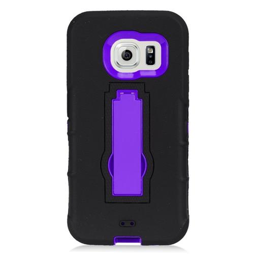 Insten Symbiosis HardRubberized Silicone Case w/stand For Samsung Galaxy S7, Black/Purple