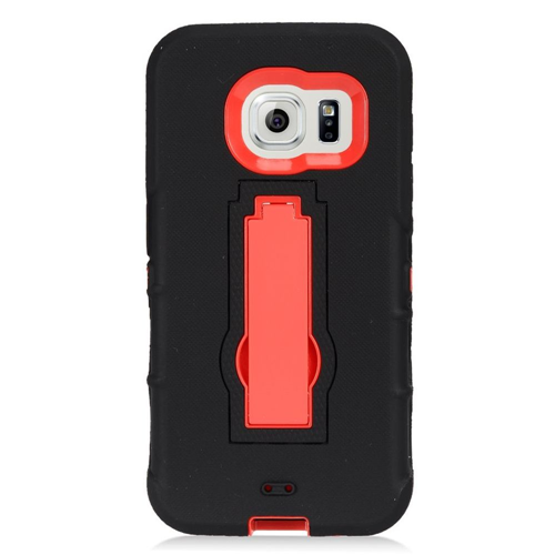 Insten Symbiosis Hard Hybrid Rubberized Silicone Case w/stand For Samsung Galaxy S7, Black/Red