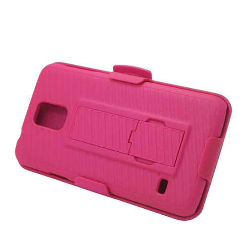 Insten Hard Dual Layer Plastic Silicone Cover Case w/stand/Holster For Samsung Galaxy S5, Hot Pink