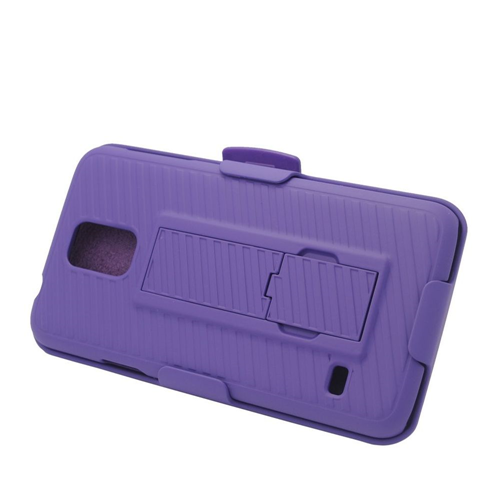 Insten Hard Hybrid Plastic Silicone Case w/stand/Holster For Samsung Galaxy S5, Purple