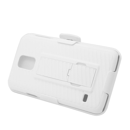 Insten Hard Dual Layer Plastic Silicone Cover Case w/stand/Holster For Samsung Galaxy S5, White