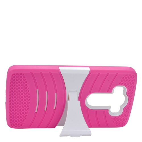 Insten Wave Hybrid Stand Rubber Silicone/PC Case For LG V10, Hot Pink/White