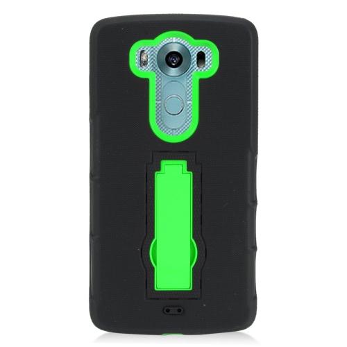 Insten Hybrid Stand Rubber Silicone/PC Case For LG V10, Black/Green