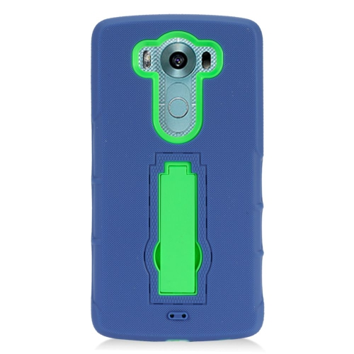 Insten Hybrid Stand Rubber Silicone/PC Case For LG V10, Blue/Green