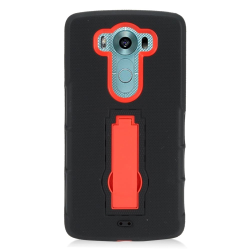 Insten Hybrid Stand Rubber Silicone/PC Case For LG V10, Black/Red