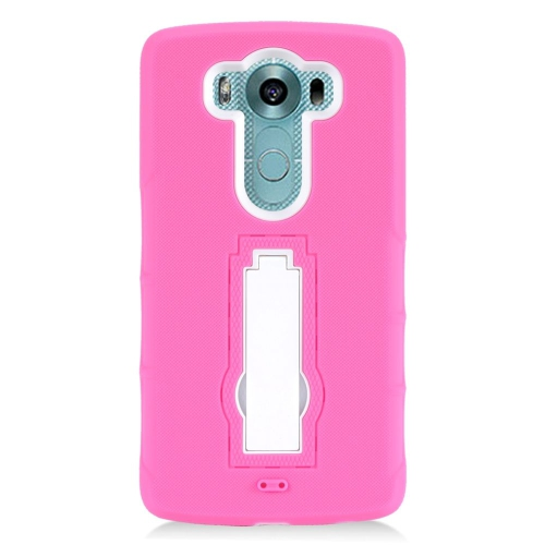 Insten Hybrid Stand Rubber Silicone/PC Case For LG V10, Hot Pink/White