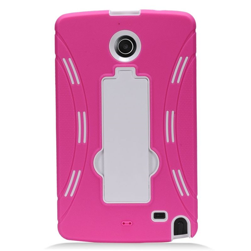 Insten Hybrid Stand Rubber Silicone/PC Case For LG G Pad 8.0, Hot Pink/White
